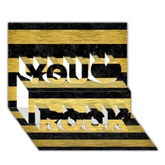 Stripes2 Black Marble & Gold Brushed Metal You Rock 3d Greeting Card (7x5) by trendistuff