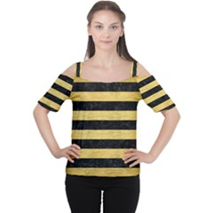 Stripes2 Black Marble & Gold Brushed Metal Cutout Shoulder Tee by trendistuff