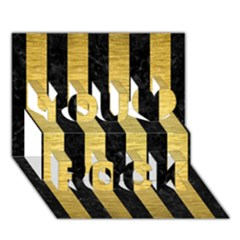 Stripes1 Black Marble & Gold Brushed Metal You Rock 3d Greeting Card (7x5) by trendistuff