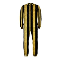 Stripes1 Black Marble & Gold Brushed Metal Onepiece Jumpsuit (kids) by trendistuff