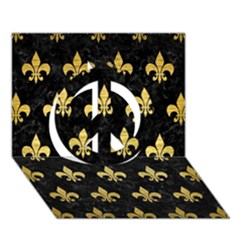 Royal1 Black Marble & Gold Brushed Metal (r) Peace Sign 3d Greeting Card (7x5) by trendistuff