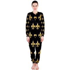 Royal1 Black Marble & Gold Brushed Metal (r) Onepiece Jumpsuit (ladies) by trendistuff
