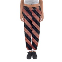 Stripes3 Black Marble & Copper Brushed Metal (r) Women s Jogger Sweatpants by trendistuff