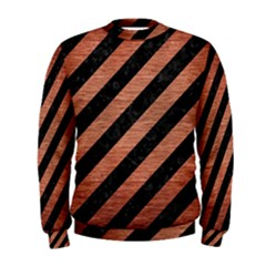 Stripes3 Black Marble & Copper Brushed Metal Men s Sweatshirt