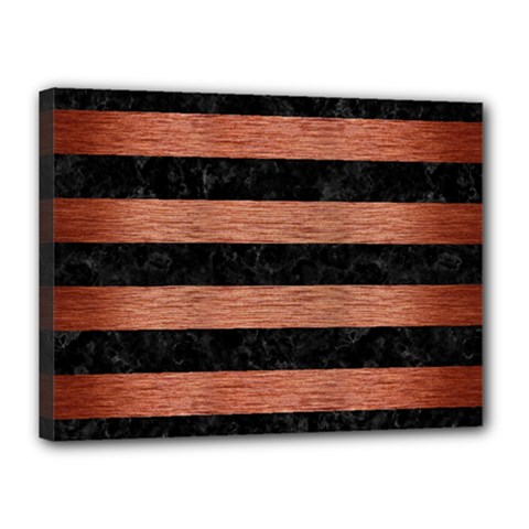 Stripes2 Black Marble & Copper Brushed Metal Canvas 16  X 12  (stretched) by trendistuff