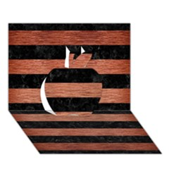 Stripes2 Black Marble & Copper Brushed Metal Apple 3d Greeting Card (7x5) by trendistuff