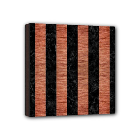 Stripes1 Black Marble & Copper Brushed Metal Mini Canvas 4  X 4  (stretched)