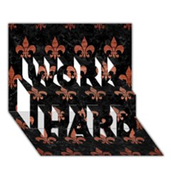 Royal1 Black Marble & Copper Brushed Metal (r) Work Hard 3d Greeting Card (7x5) by trendistuff