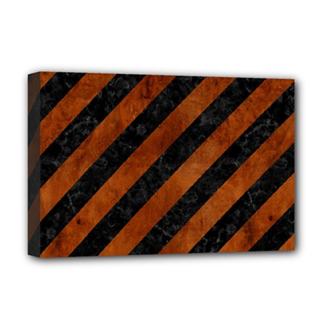 Stripes3 Black Marble & Brown Burl Wood Deluxe Canvas 18  X 12  (stretched) by trendistuff