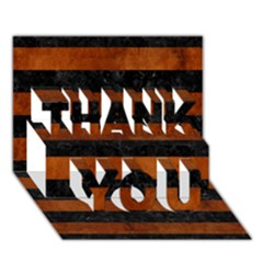 Stripes2 Black Marble & Brown Burl Wood Thank You 3d Greeting Card (7x5) by trendistuff