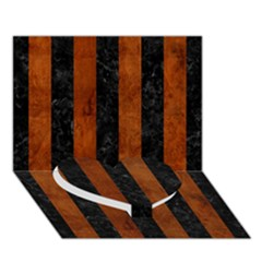 Stripes1 Black Marble & Brown Burl Wood Heart Bottom 3d Greeting Card (7x5) by trendistuff