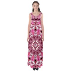 Twirling Pink, Abstract Candy Lace Jewels Mandala  Empire Waist Maxi Dress
