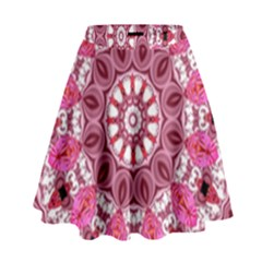Twirling Pink, Abstract Candy Lace Jewels Mandala  High Waist Skirt