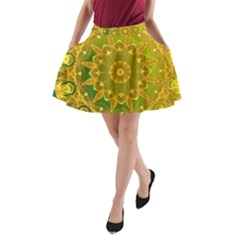 Yellow Green Abstract Wheel Of Fire A Line Pocket Skirt by DianeClancy