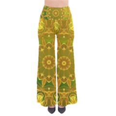 Yellow Green Abstract Wheel Of Fire Women s Chic Palazzo Pants by DianeClancy