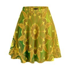 Yellow Green Abstract Wheel Of Fire High Waist Skirt by DianeClancy