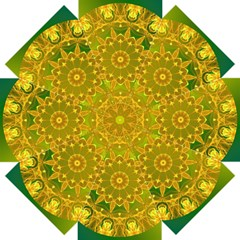 Yellow Green Abstract Wheel Of Fire Straight Umbrellas
