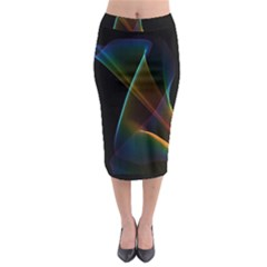 Abstract Rainbow Lily, Colorful Mystical Flower  Midi Pencil Skirt