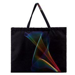 Abstract Rainbow Lily, Colorful Mystical Flower  Zipper Large Tote Bag by DianeClancy