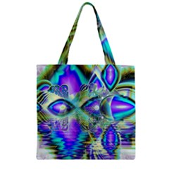 Abstract Peacock Celebration, Golden Violet Teal Zipper Grocery Tote Bag by DianeClancy