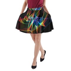 Aurora Ribbons, Abstract Rainbow Veils  A Line Pocket Skirt by DianeClancy