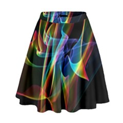 Aurora Ribbons, Abstract Rainbow Veils  High Waist Skirt by DianeClancy