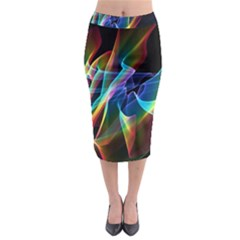 Aurora Ribbons, Abstract Rainbow Veils  Midi Pencil Skirt by DianeClancy