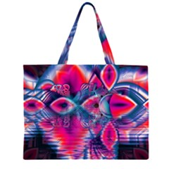 Cosmic Heart Of Fire, Abstract Crystal Palace Zipper Large Tote Bag by DianeClancy