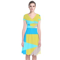 Blue Yellow Shapes                       Short Sleeve Front Wrap Dress