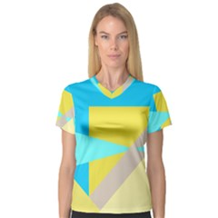 Blue Yellow Shapes                                                        Women s V Neck Sport Mesh Tee by LalyLauraFLM