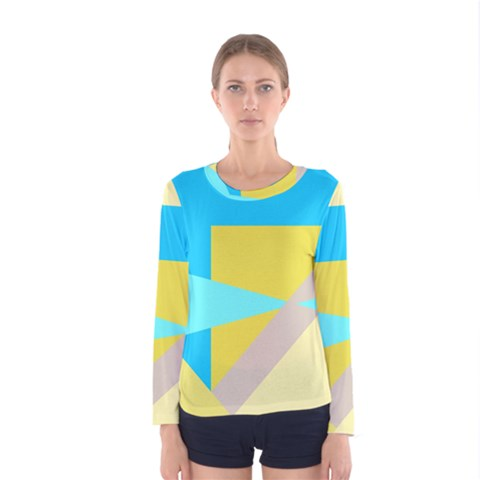 Blue Yellow Shapes                                                        Women Long Sleeve T-shirt by LalyLauraFLM