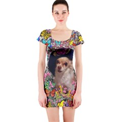Chi Chi In Butterflies, Chihuahua Dog In Cute Hat Short Sleeve Bodycon Dress