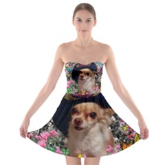 Chi Chi In Butterflies, Chihuahua Dog In Cute Hat Strapless Dresses by DianeClancy