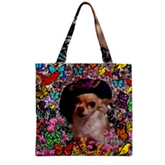 Chi Chi In Butterflies, Chihuahua Dog In Cute Hat Grocery Tote Bag by DianeClancy