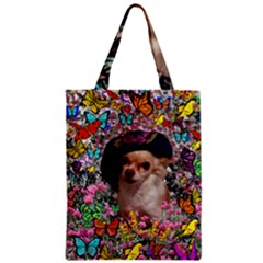 Chi Chi In Butterflies, Chihuahua Dog In Cute Hat Zipper Classic Tote Bag by DianeClancy