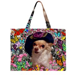 Chi Chi In Butterflies, Chihuahua Dog In Cute Hat Zipper Large Tote Bag by DianeClancy