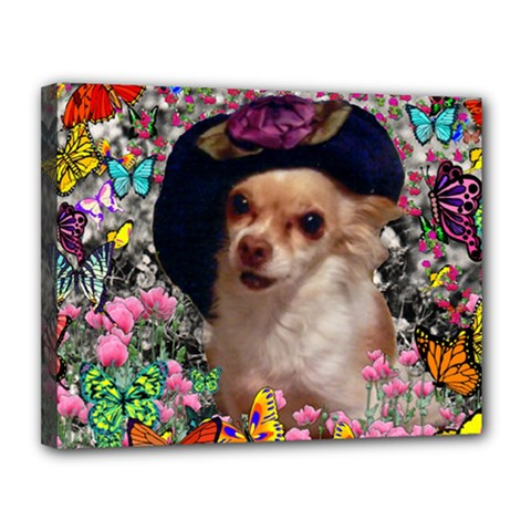 Chi Chi In Butterflies, Chihuahua Dog In Cute Hat Canvas 14  X 11  by DianeClancy