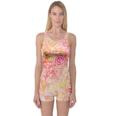 Sunny Floral Watercolor One Piece Boyleg Swimsuit by KirstenStar