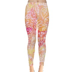 Sunny Floral Watercolor Leggings  by KirstenStar