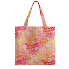 Sunny Floral Watercolor Grocery Tote Bag by KirstenStar