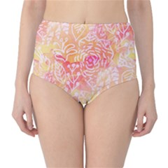 Sunny Floral Watercolor High Waist Bikini Bottoms by KirstenStar