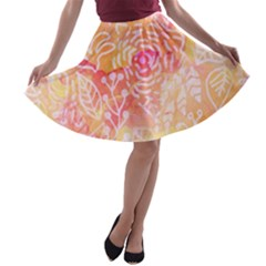 Sunny Floral Watercolor A Line Skater Skirt by KirstenStar