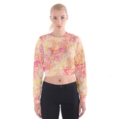 Sunny Floral Watercolor Women s Cropped Sweatshirt by KirstenStar