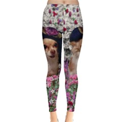 Chi Chi In Flowers, Chihuahua Puppy In Cute Hat Winter Leggings  by DianeClancy