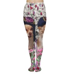 Chi Chi In Flowers, Chihuahua Puppy In Cute Hat Women s Tights by DianeClancy
