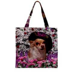 Chi Chi In Flowers, Chihuahua Puppy In Cute Hat Zipper Grocery Tote Bag by DianeClancy