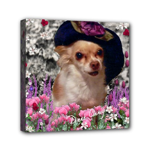 Chi Chi In Flowers, Chihuahua Puppy In Cute Hat Mini Canvas 6  X 6  by DianeClancy