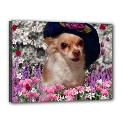 Chi Chi In Flowers, Chihuahua Puppy In Cute Hat Canvas 16  X 12  by DianeClancy