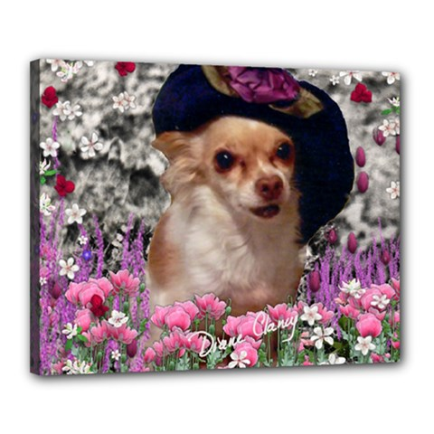 Chi Chi In Flowers, Chihuahua Puppy In Cute Hat Canvas 20  X 16  by DianeClancy