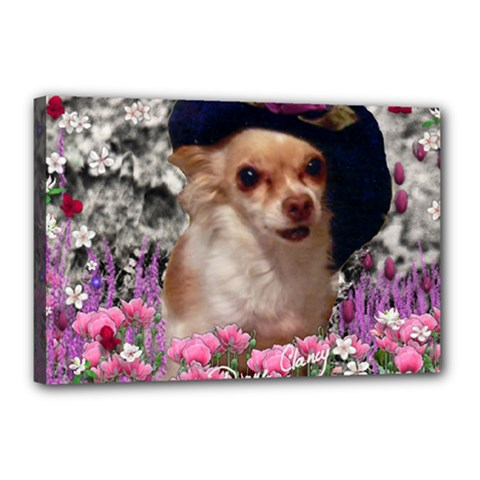 Chi Chi In Flowers, Chihuahua Puppy In Cute Hat Canvas 18  X 12  by DianeClancy